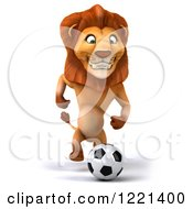 Clipart Of A 3d Lion Playing Soccer Royalty Free Illustration