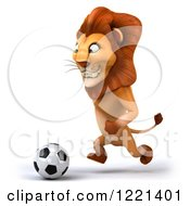 Clipart Of A 3d Lion Playing Soccer 2 Royalty Free Illustration