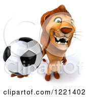 Clipart Of A 3d Lion Holding Up A Soccer Ball Royalty Free Illustration