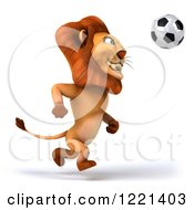 Clipart Of A 3d Lion Playing Soccer 3 Royalty Free Illustration