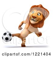 Clipart Of A 3d Lion Playing Soccer 4 Royalty Free Illustration