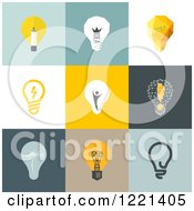 Clipart Of Retro Idea Light Bulbs On Different Backgrounds Royalty Free Vector Illustration by elena