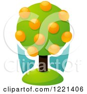 Clipart Of A Lush Orange Tree With Fruits Royalty Free Vector Illustration