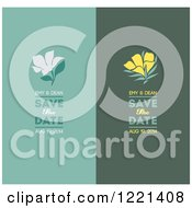 Turquoise And Green Save The Date Panels With Flowers And Sample Text