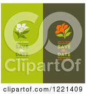 Green Save The Date Panels With Flowers And Sample Text