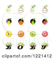 Clipart Of Lemon Orange Lime And Tangerine Designs Royalty Free Vector Illustration