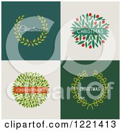 Clipart Of Christmas Wreaths With Text On Different Backgrounds Royalty Free Vector Illustration by elena