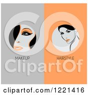 Clipart Of Panels Of Retro Women With Makeup And Hairstyle Text Royalty Free Vector Illustration