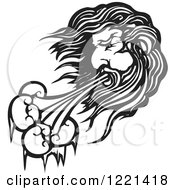 Clipart Of A Black And White North Wind Man Woodcut Royalty Free Vector Illustration