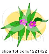 Pink Flowers And Leaves On An Oval