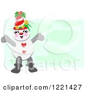 Snowman Wearing A Festive Hat Over Green
