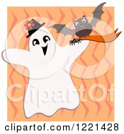 Halloween Bat And Ghost Over Zig Zags
