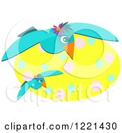 Clipart Of Blue Seagulls With A Yellow Floral Oval Royalty Free Vector Illustration