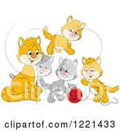 Clipart Of A Cute Gray And Orange Kittens Playing With Yarn Royalty Free Vector Illustration by Alex Bannykh