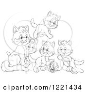 Clipart Of Outlined Kittens Playing With Yarn Royalty Free Vector Illustration