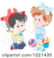 Clipart Of Two Little Girls Playing With Toys Royalty Free Vector Illustration