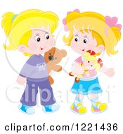 Clipart Of Two Little Girls Walking With A Teddy Bear And Doll Royalty Free Vector Illustration