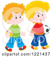 Clipart Of Two Boys Carrying A Soccer And Toy Ball Royalty Free Vector Illustration