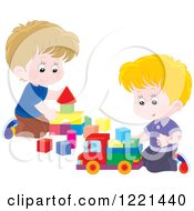 Clipart Of Two Boys Playing With Blocks Royalty Free Vector Illustration