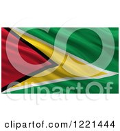 Clipart Of A 3d Waving Flag Of Guyana With Rippled Fabric Royalty Free Illustration