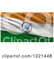 3d Waving Flag Of India With Rippled Fabric