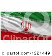 Clipart Of A 3d Waving Flag Of Iran With Rippled Fabric Royalty Free Illustration