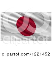 Clipart Of A 3d Waving Flag Of Japan With Rippled Fabric Royalty Free Illustration