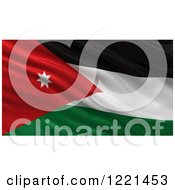 Clipart Of A 3d Waving Flag Of Jordan With Rippled Fabric Royalty Free Illustration