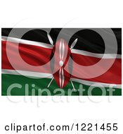 Clipart Of A 3d Waving Flag Of Kenya With Rippled Fabric Royalty Free Illustration