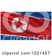Clipart Of A 3d Waving Flag Of North Korea With Rippled Fabric Royalty Free Illustration