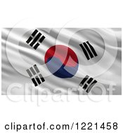 Clipart Of A 3d Waving Flag Of South Korea With Rippled Fabric Royalty Free Illustration