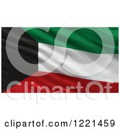 Clipart Of A 3d Waving Flag Of Kuwait With Rippled Fabric Royalty Free Illustration