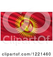 Clipart Of A 3d Waving Flag Of Kyrgyzstan With Rippled Fabric Royalty Free Illustration