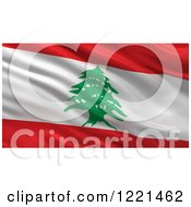 Clipart Of A 3d Waving Flag Of Lebanon With Rippled Fabric Royalty Free Illustration