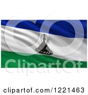 Clipart Of A 3d Waving Flag Of Lesotho With Rippled Fabric Royalty Free Illustration