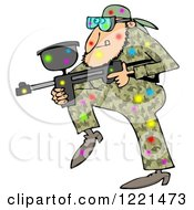 Clipart Of A Paintball Man In Camouflage Covered In Colorful Splats Royalty Free Illustration