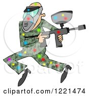 Clipart Of A Paintball Man In Camouflage Covered In Colorful Splats 2 Royalty Free Illustration