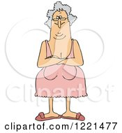 Clipart Of A Senior Woman With Her Breasts Hanging Low Royalty Free Vector Illustration