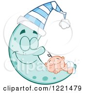 Clipart Of A Caucasian Baby Sleeping On A Happy Blue Crescent Moon With A Hat Royalty Free Vector Illustration