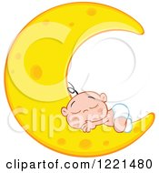 Clipart Of A Caucasian Baby Sleeping On A Crescent Moon Royalty Free Vector Illustration