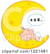 Clipart Of A Caucasian Baby Boy With Zzz Sleeping On A Crescent Moon Royalty Free Vector Illustration