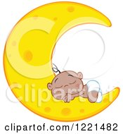 Clipart Of A Black Baby Boy Sleeping On A Crescent Moon Royalty Free Vector Illustration