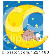 Clipart Of A Black Baby Boy Sleeping On A Crescent Moon Over Stars Royalty Free Vector Illustration