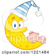 Clipart Of A Caucasian Baby Girl Sleeping On A Happy Crescent Moon Wearing A Hat Royalty Free Vector Illustration