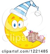 Clipart Of A Black Baby Girl Sleeping On A Happy Crescent Moon Wearing A Hat Royalty Free Vector Illustration