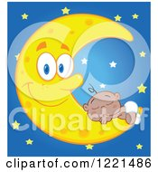 Clipart Of A Black Baby Sleeping On A Happy Crescent Moon Over Stars Royalty Free Vector Illustration