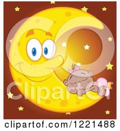 Clipart Of A Black Baby Girl Sleeping On A Happy Crescent Moon With Stars Royalty Free Vector Illustration