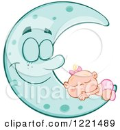 Clipart Of A Caucasian Baby Girl Sleeping On A Happy Blue Crescent Moon Royalty Free Vector Illustration