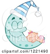 Clipart Of A Caucasian Baby Girl Sleeping On A Happy Blue Crescent Moon With A Hat Royalty Free Vector Illustration