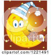 Clipart Of A Black Baby Boy Sleeping On A Happy Crescent Moon Wearing A Hat With Stars Royalty Free Vector Illustration